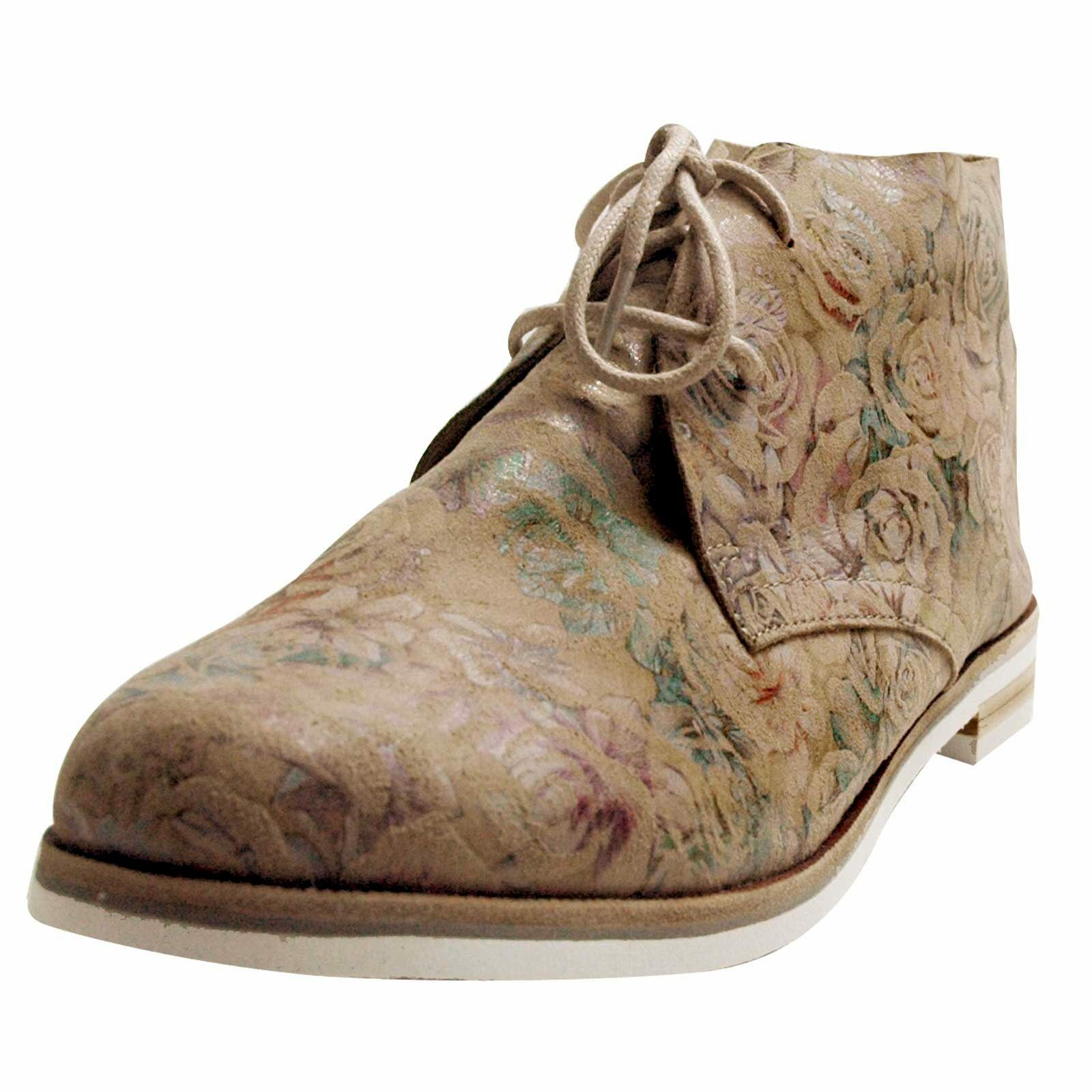 Caprice botines beige, con acanto, ancho de zapatos G