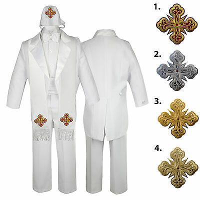 Nice 5 6 7pc White Baby Kid Boys Christening Formal Tail Tuxedo Suits Cross Hat Stole