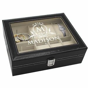 Details About Personalized Custom Engraved Jewelry Box For Her Black Jewelry Organizer