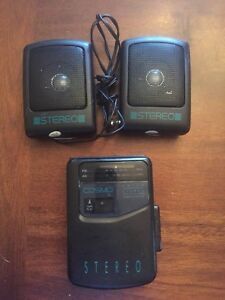 Cosmo-A2834SP-Radio-Stereo-Cassette-Player-Walkman-Used-With-Mini-Speakers-Rare