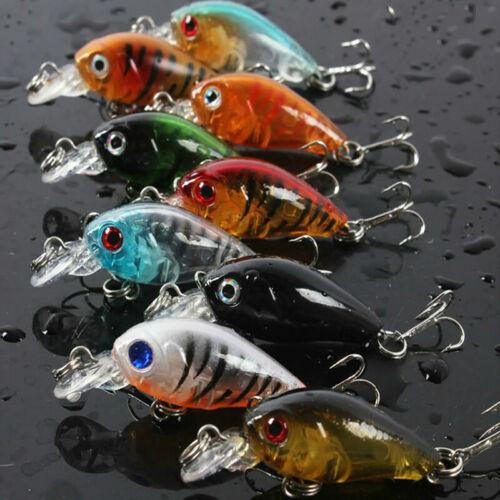 10Pcs Fishing Lures Kinds of Minnow Fish Bass Tackle Baits Hooks Crankbaits L7F4