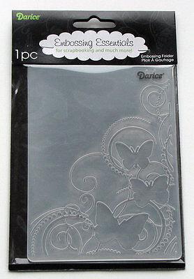 Darice Embossing Folder ~ Butterfly In The Corner~ Swirls Butterflies 1216-64