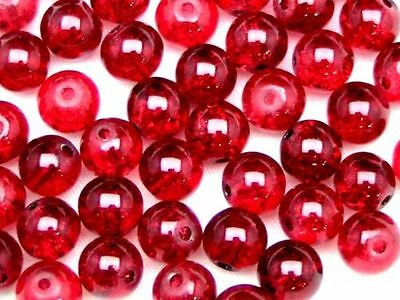 Round Glass Crackle Beads 400 - 4mm  200 - 6mm 100 - 8mm  50 - 10mm Colours ML