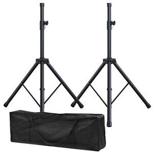 2 x Black Tripod DJ PA Speaker Stands Steel Frame Universal Adjustable - Pair