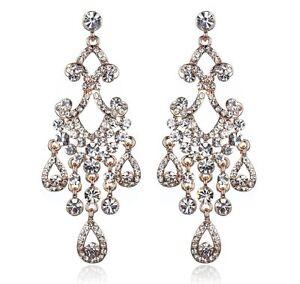 Chandelier-Dangle-Rose-Gold-Austrian-Crystal-Rhinestone-Earrings-Studs-Wed-E123g