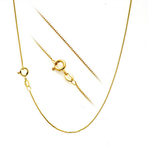 18K Gold over Solid 925 Sterling Silver 1.1mm Thin Italian Box Chain Necklace