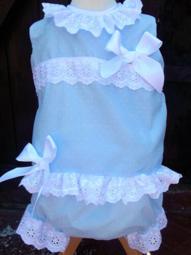 DREAM  GIRLS SPANISH SKY BLUE SPOT SUMMER TOP KNICKERS 0 TO 3 YEARS REBORN DOLL