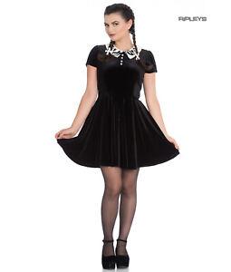 Hell-Bunny-Gothic-Mini-Skater-Dress-FULL-MOON-Bats-Black-Velvet-All-Sizes