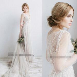 Bohemian Wedding Dress Sheer Sleeve Beading Tassel Beach Bridal ...