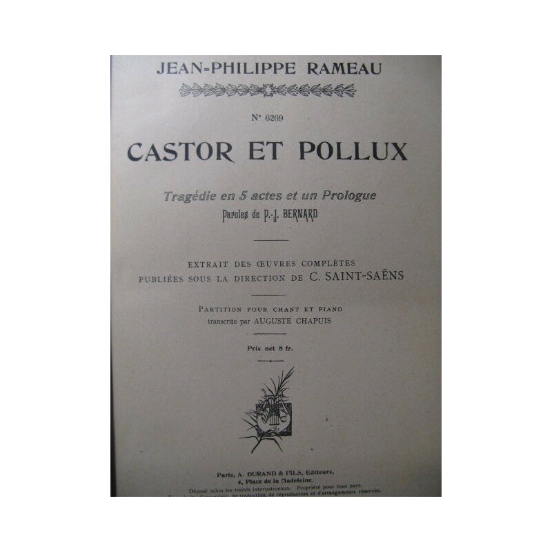 RAMEAU Jean-Philippe Biber und Pollux Chant Piano 1903 Partitur sheet music sco