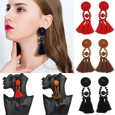 New Women Fringing Earrings Long Rope Tassel Jewelry Elegant Beads Earrings