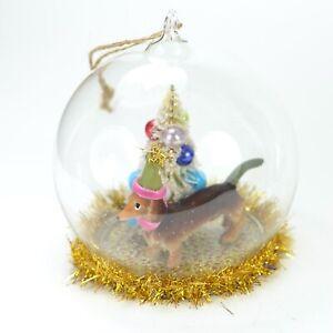 Dachshund-Dog-Glass-Dome-Christmas-Ornament-NEW