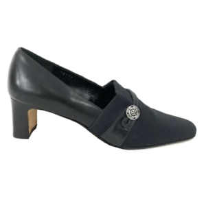 Brighton-Quincy-Heels-Black-Made-in-Italy-Pumps-Silver-Logo-Black-Mules-Chunky