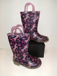 Western Chief Kid's Waterproof Printed Rain Boot, Horse/Unicorn, Size 8 light up