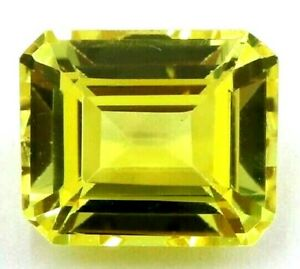 12.05 Ct Natural Yellow Sapphire Emerald Cut Certified Loose Gemstone