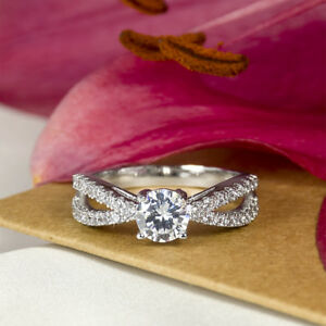 Women-039-s-0-75-CT-Carat-ROUND-CUT-Engagement-RING-White-Gold-Plated-Size-5-9-June