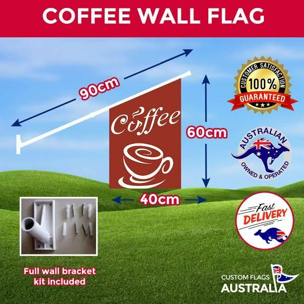 Coffee Wall Flag  Heavy Duty Double Sided Brown Coffee Flag With Full Kit