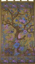 "Tree of Life Tab Top Curtain Drape Panel Cotton 44"" x 88"" Green"