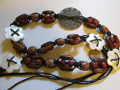 "MACRAME CORD BELT WITH WOOD, MILLEFIORI BEADS, SHELL & CHINESE TOKEN  60"" GYPSY"