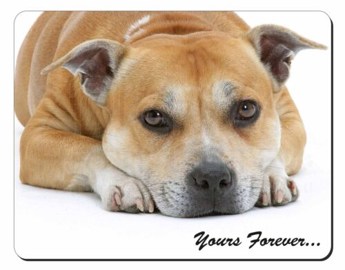 Red Staffie Dog 'Yours Forever' Computer Mouse Mat Christmas Gift Idea, ADSBT8M