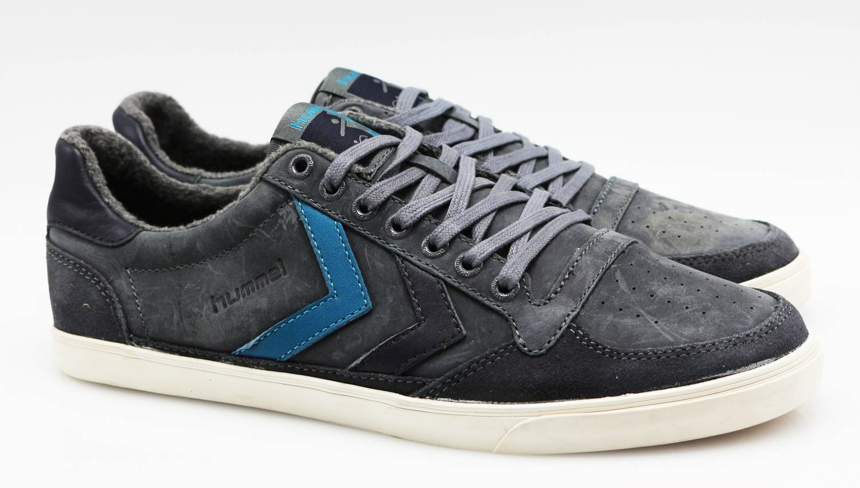 Hummel Slimmer Stadil oliled Leder Sneaker Schuhe H15/202 grau gefüttert 41 (42)