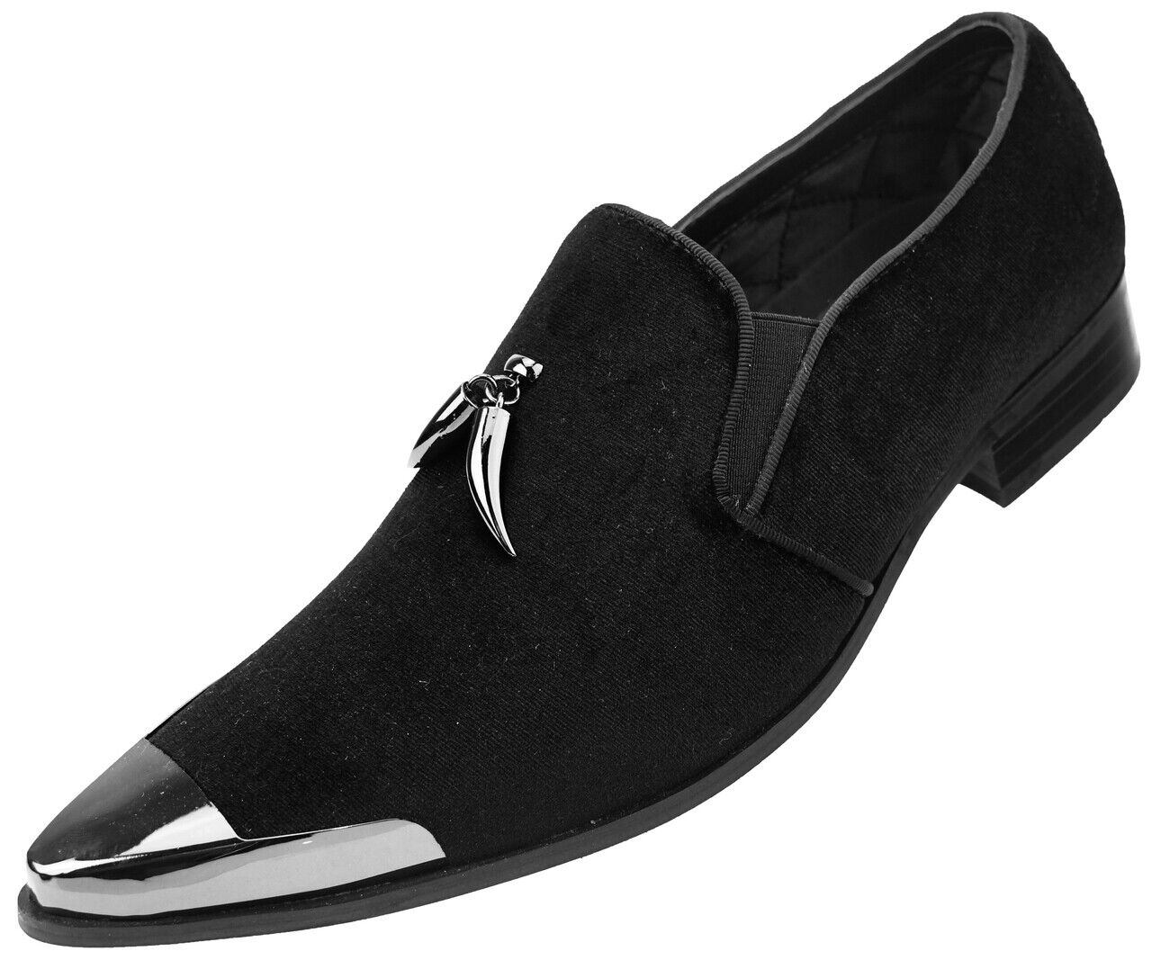 Black Velvet Horn Tassel Gun Metal Tip Slip on Dress Tuxedo Tux shoes loafer