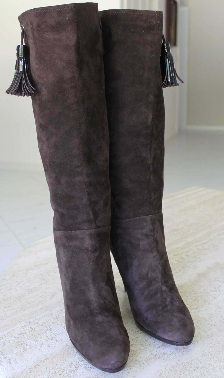 COLE HAAN  AIR BROWN SUEDE LEATHER KNEE HIGH BOOTS WOMEN SZ 9.5 B
