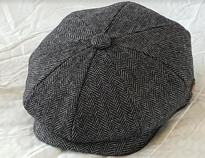 SALE Men Hat 8 Panel Paper boy Baker boy Hat Herringbone Cap by G/&H Hats Grey