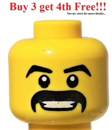 White eyes ☀️NEW Lego Minifigure Head Moustache Black Thick Grin with Teeth