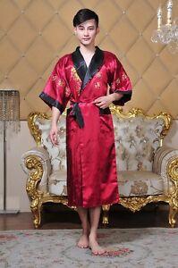 Burgundy/&Black Double-Face Chinese Men/'s Kimono Robe Gown Bathrobe Dress M-XXXL
