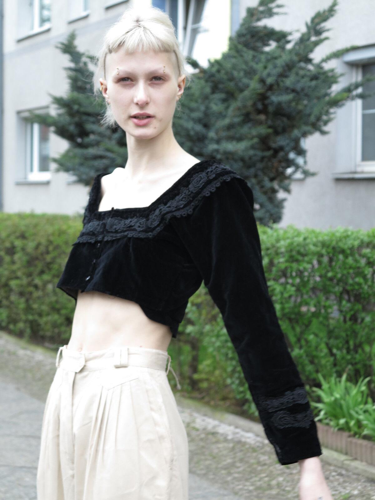 antik 1900 Trachten Jacke Handarbeit Top TRUE VINTAGE traditional costume velvet