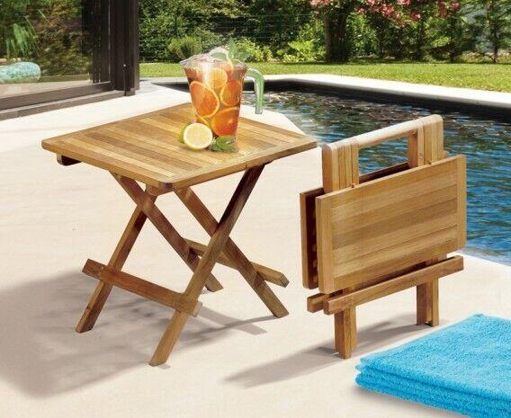 Portable Folding Square Teak Picnic Garden Coffee Table