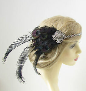 Black & Silver Peacock Feather Headband 1920s Great Gatsby Flapper Headpiece 177