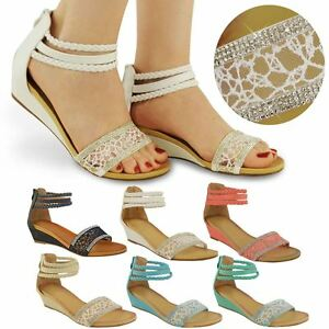 aa39a5cc2347 Image is loading LADIES-WOMENS-SUMMER-SANDALS-LOW-HEELS-WEDGE-ANKLE-