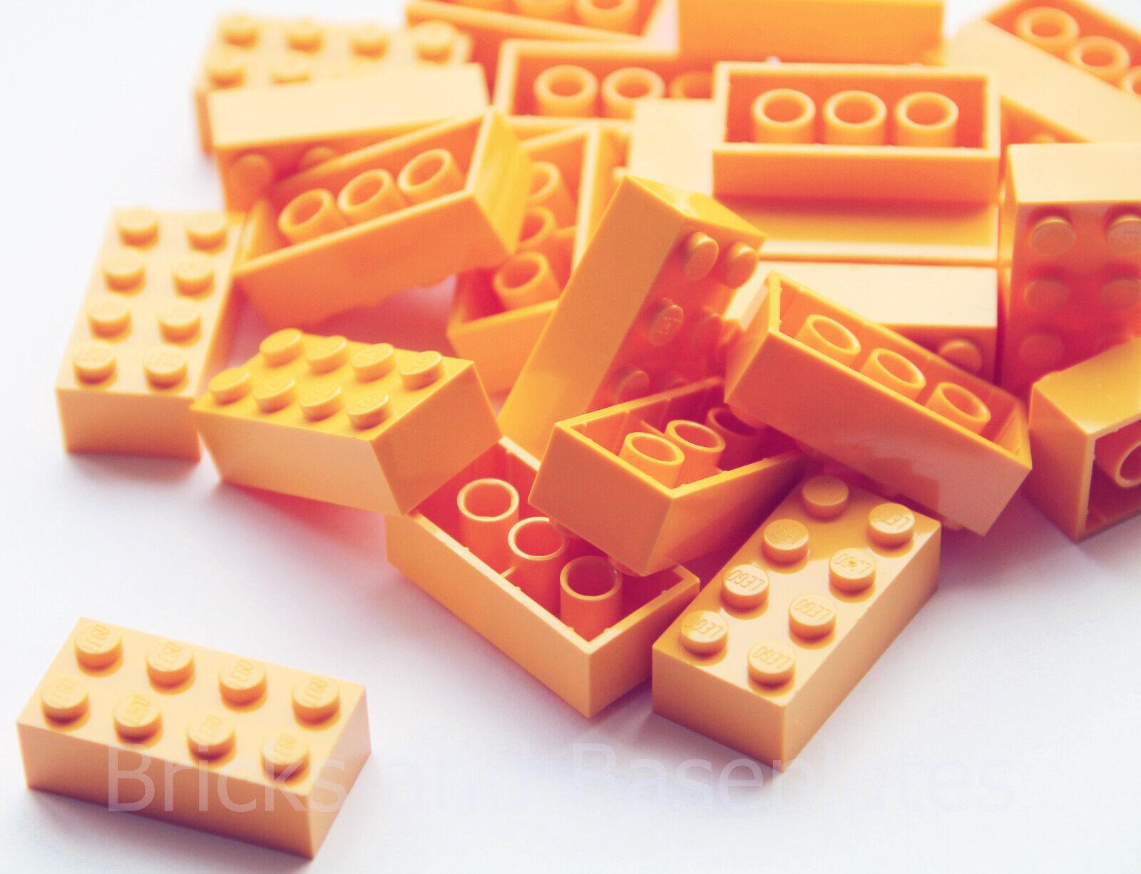 Briques Lego 200 x Bright Orange 2x4 PIN NEUF envoyé dans une Claire scellé sac