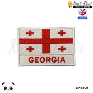 GEORGIA-National-Flag-With-Name-Embroidered-Iron-On-Sew-On-Patch-Badge