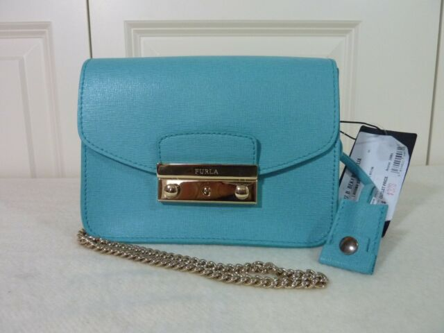 1e5e50101476 FURLA Soft Turquoise Saffiano Leather Julia Mini Crossbody Bag - NEW WITH  TAG