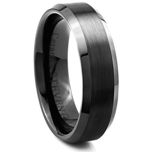 CER065 Man/'s 7mm Wide Black Ceramic Band Comfort Fit Ring Satin Center Beveled
