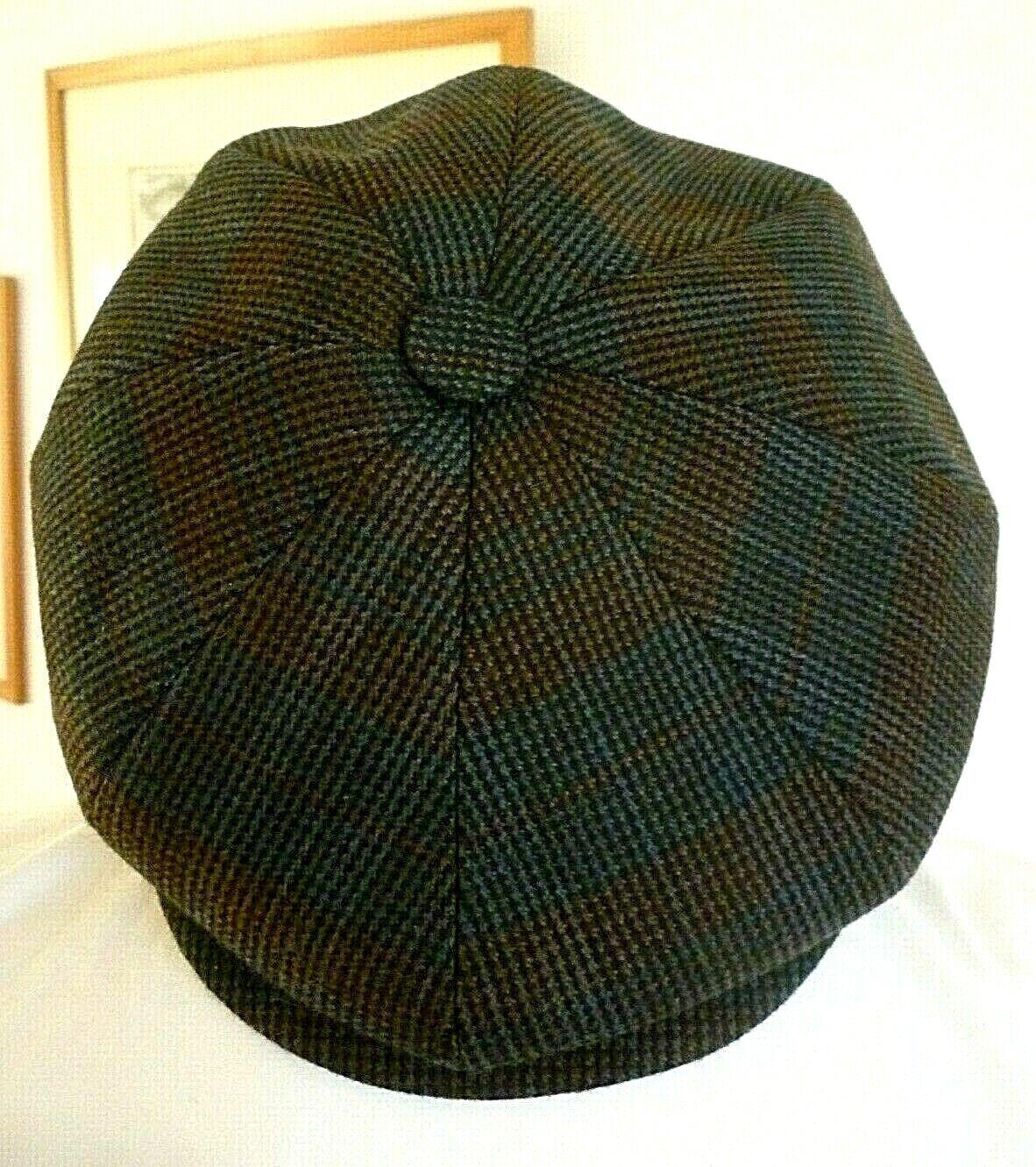 Ballonmütze Wolle Flatcap Wollkappe Bakerboy Schiebermütze Kappe Cap Blau Braun