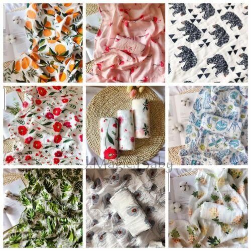 120*120cm Baby Kids Cotton Muslin Swaddle Soft Sleeping Blanket Wrap Bath Towel