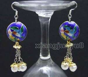 Big-18mm-Blue-Round-Cloisonne-amp-6-7mm-White-Natural-Pearl-Dangle-earring-ear525