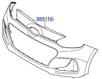 Genuine Hyundai i20 2012 - 2014 Front Bumper - 865111J500
