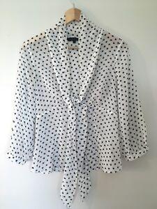 Coast-Size-8-Polka-Dot-Chiffon-Blouse-Shirt-Cream-Black-VGC-Silky-Sheer
