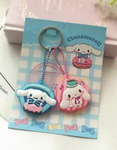 2PC-Cute-Cinnamoroll-Dog-Key-Cap-Cover-Silicone-Keychain-Case-Keyring-Key-Chain