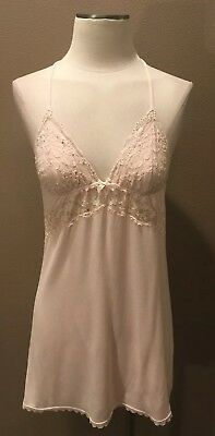 Supply Victoria's Secret S/p Babydoll Chemise Pink W Lace Deep V Back Women's Clothing