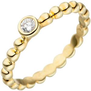 Damen-Ring-Kugelring-weisse-Zirkonia-Solitaer-925-Silber-Gelbgold-vergoldet