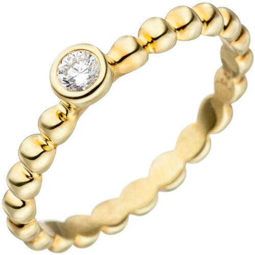 Damen-Ring Kugelring weiße Zirkonia Solitär 925 Silber Gelbgold vergoldet