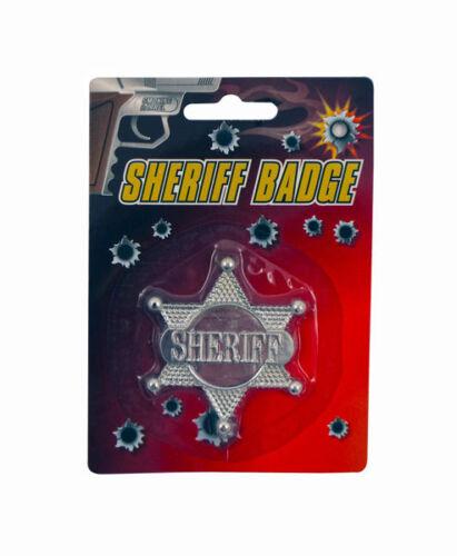 SHERIFFS BADGE 6cm Argento Plastica COWBOYS /& WESTERN Henbrandt