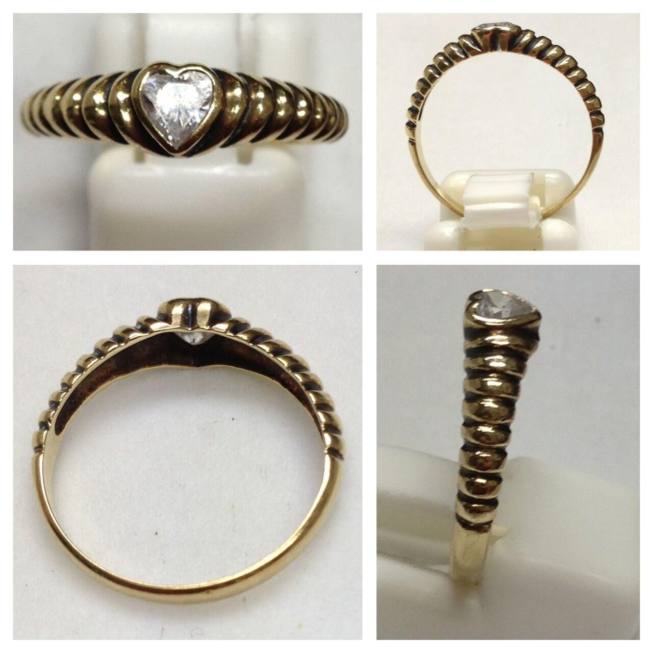 BELLE BAGUE 333 doré bijou EN OR Bague en or avec zircone cœur