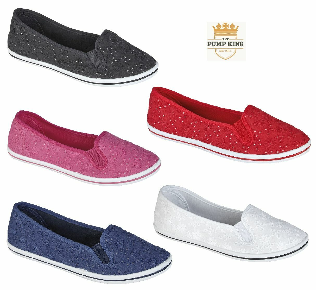 NEW LADIES WOMENS SLIP ON CASUAL HOLIDAY COLOUR CANVAS PUMP PLIMSOLL SHOES
